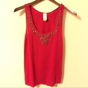 Anthropologie Pink Cotton Tank With Jewel Detail